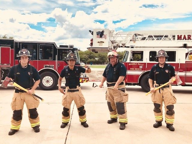 Firefighters of A shift pose together